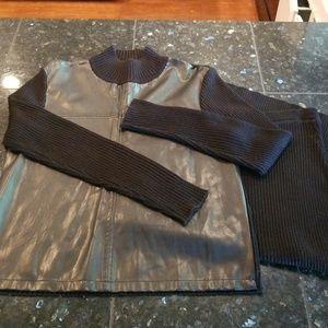 Womens Nina Leonard sweater and skirt set